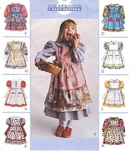 Girls Pinafore Pattern - McCall's 8975 Girl's Dress and Pinafore Sewing Pattern Size 4-5-6