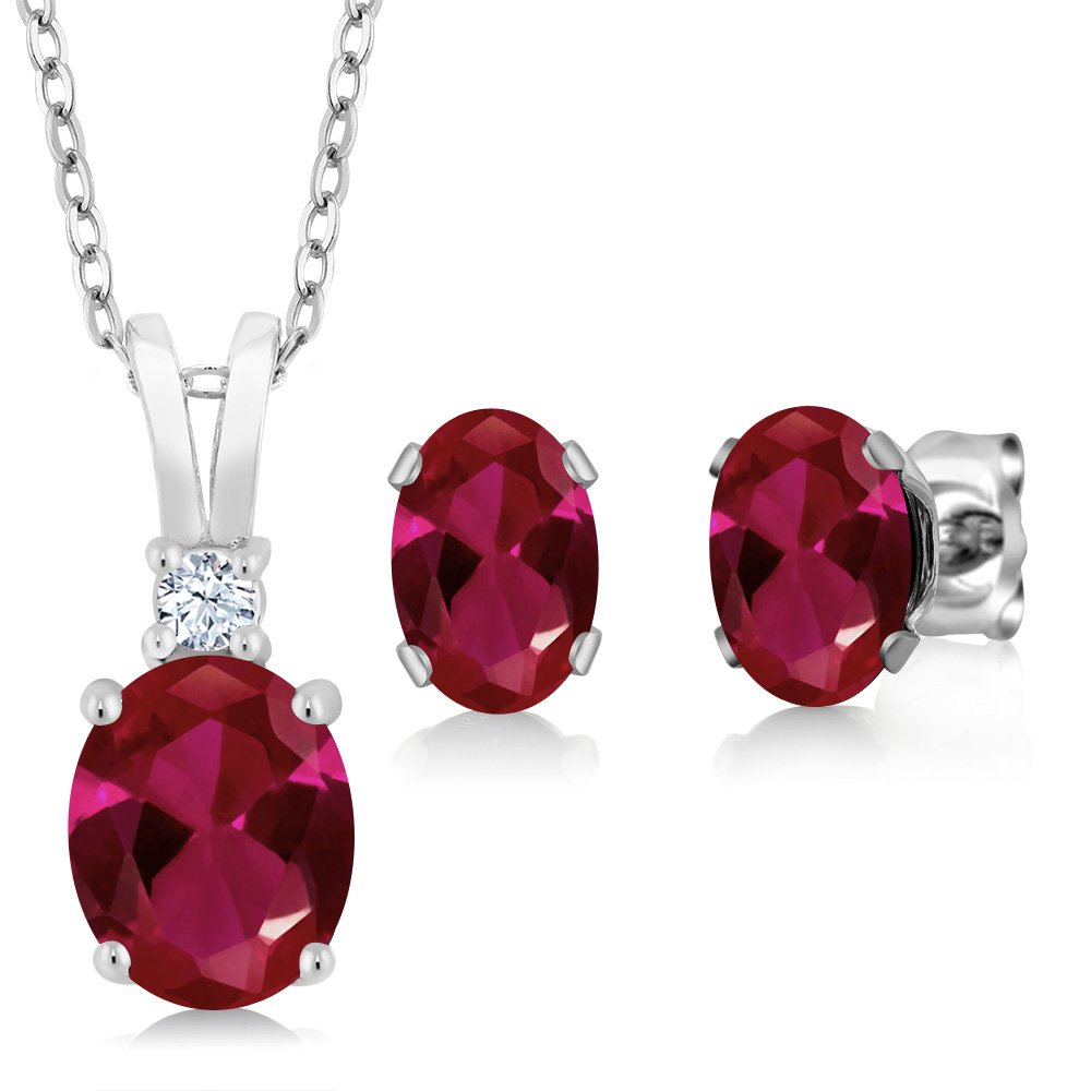 Gem Stone King 3.48 Ct Oval Red Created Ruby 925 Sterling Silver Pendant Earrings Set 18 Inch Silver Chain