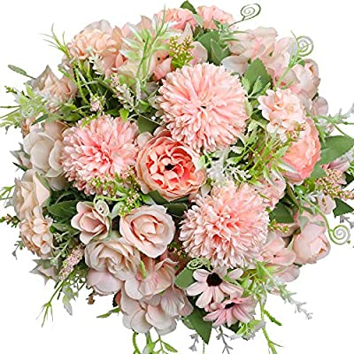 Nubry 3pcs Artificial Flowers Bouquet Fake Peony Silk Hydrangea Wildflowers Arrangements With Stems For Wedding Home Centerpieces Decor Light Pink Amazon Sg Home