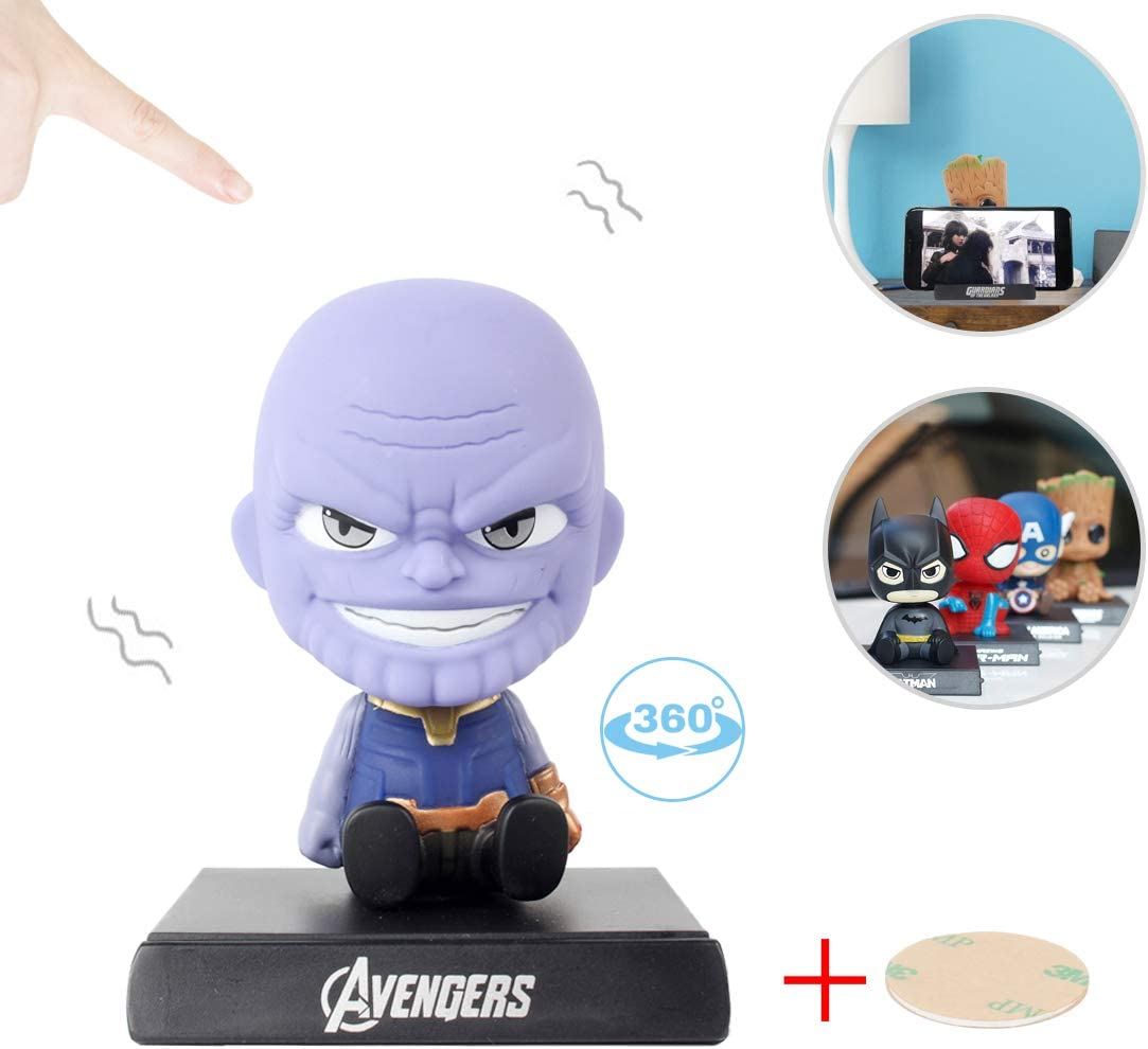Coolgu Superhero Marvel-Hero Cartoon Cute Model Collectible Toy, Car Decoration Mobile Phone Holder Dashboard/ Office Home Accessories /Holiday Decoration/ Bobblehead Doll Kid's Gift (Thanos)