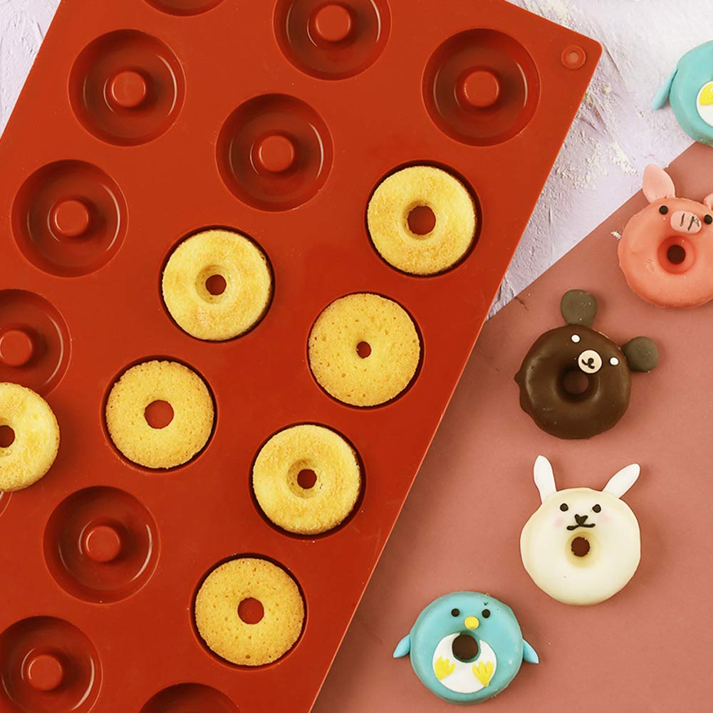 PERNY 18-Cavity Mini Donut Pan, 1.5 Inch Silicone Donut Pan, 2 Pack by PERNY (Image #9)