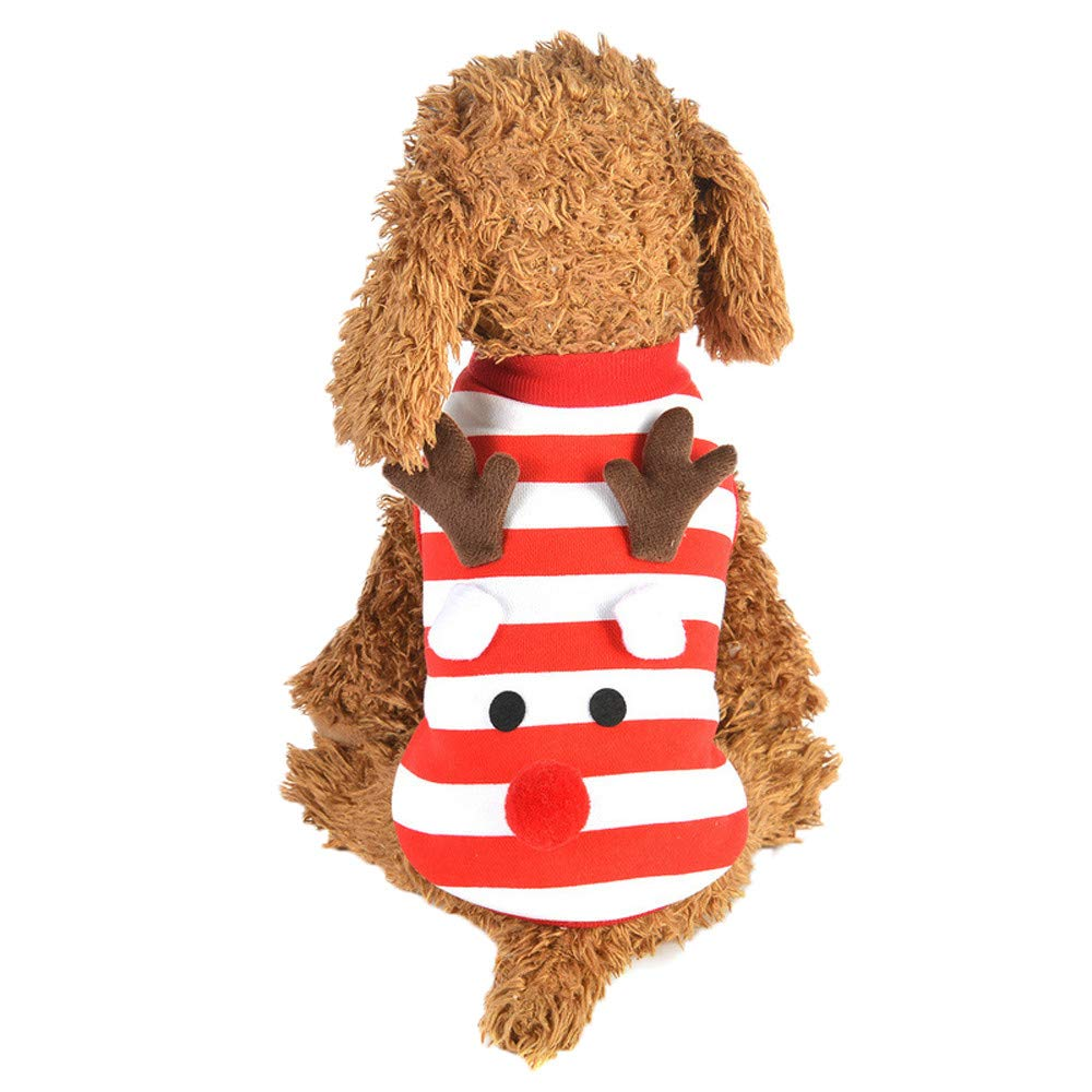 lotus.flower Christmas Pet Dog Puppy Vest Striped Style Warm Clothes Elk Dress Up Xmas Vest (XS, Red)
