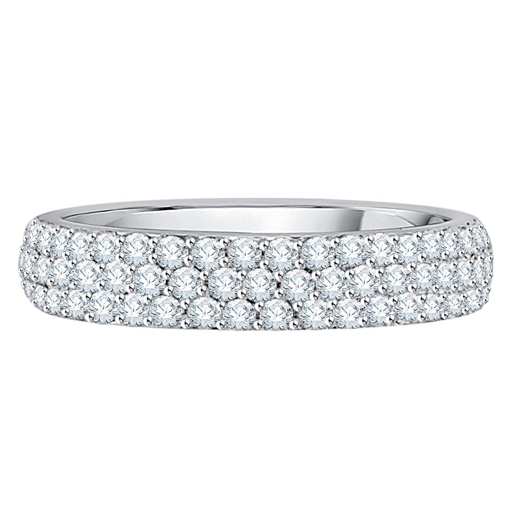 Diamond Anniversary Ring in Sterling Silver (3/4 cttw) (I-Color, SI3-I1 Clarity) (Size-4.75)