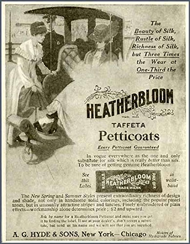 Charming 1910 AD for HEATHERBLOOM Taffeta Petticoats Original Paper Ephemera Authentic Vintage Print Magazine Ad/Article