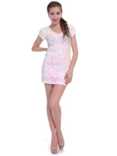 Anna-Kaci Womens Short Sleeve Sequin V Neck Bodycon Mini Party Cocktail Dress