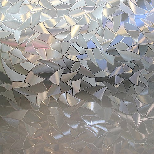 (Leyden 17.7-by-72-Inch Cut Glass Geometric No-Glue 3D Static Decorative Glass Window Films)