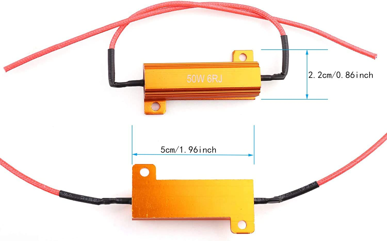 8PCS 50W 6Ohm LED Load Resistors,for LED Turn Signal Lights or LED License Plate Lights or DRL Fix Hyper Flash, Warning Cancellor