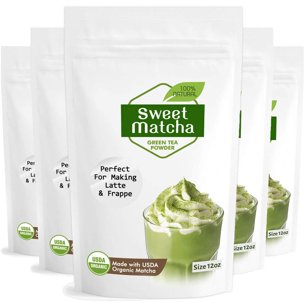 Sweet Matcha Green Tea Powder Mix 5 pack- Made with 100% Organic Matcha - Perfect for Making Green Tea Latte or Frappe. (5 x 12oz) by Matchaccino