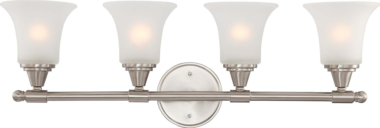 Nuvo Lighting バニティランプ 1灯型 サリー型 オーバーンベージュのガラス 60/4152 1 B003Z6PJDE つや消しニッケル|2ライトフラッシュ つや消しニッケル