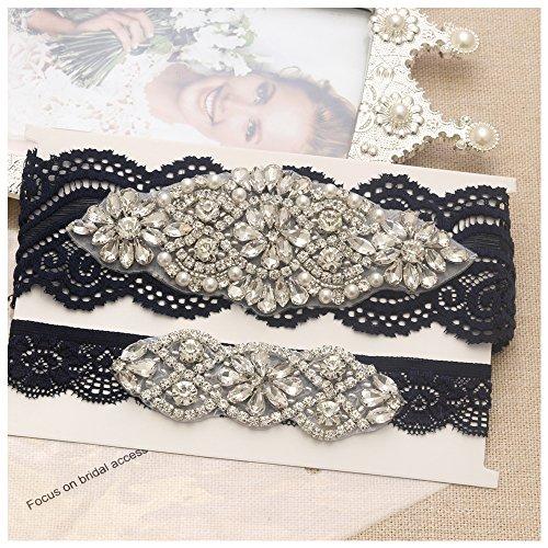 Yanstar Wedding Bridal Garter Navy Stretch Lace Bridal Garter Sets With Silver Rhinestones Clear Crystal Pearl For Wedding
