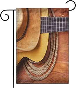 "Adowyee 12""x 18"" Garden Flag Brown American Country Music Guitar and Cowboy Hat Rope Outdoor Double Sided Decorative House Yard Flags"
