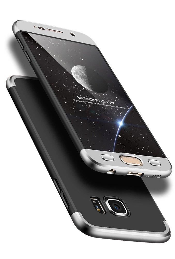 b6a56582ea1 JMGoodstore Funda Galaxy S6 Edge,Carcasa Samsung S6 Edge,Funda 360 Grados  Integral para Ambas Caras+Cristal Templado,[360°] 3 in 1Slim Fit Dactilares  ...