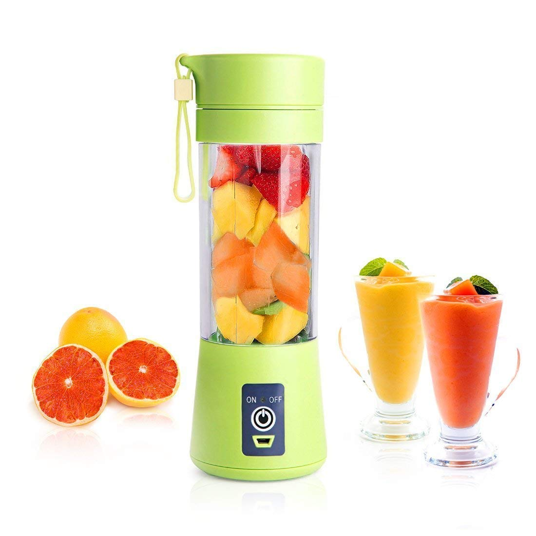 Portable Blender, Smoothie Juicer Cup - Six Blades in 3D, 13oz Fruit Mixing Machine with 2000mAh USB Rechargeable Batteries, Detachable Cup, Perfect Portable Blender for Personal Use (Green)