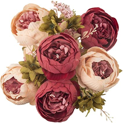 Imagen deABO 13 Köpfe Künstliche Pfingstrose Blumensimulationspflanze Gefälschte Blume Hochzeit Braut Blumenstrauß für Home Party Dekoration, Dunkelrosa