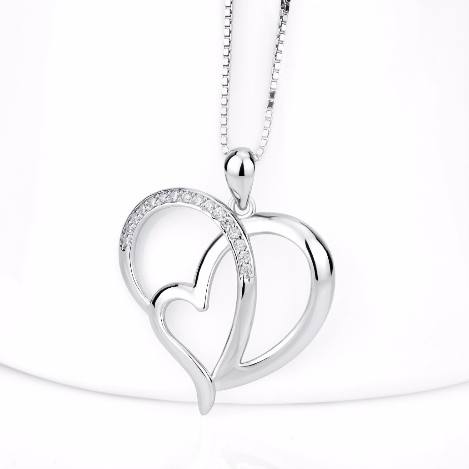 CS-DB Hollow Out Heart to Heart Pendants Silver Necklaces Clear CZ