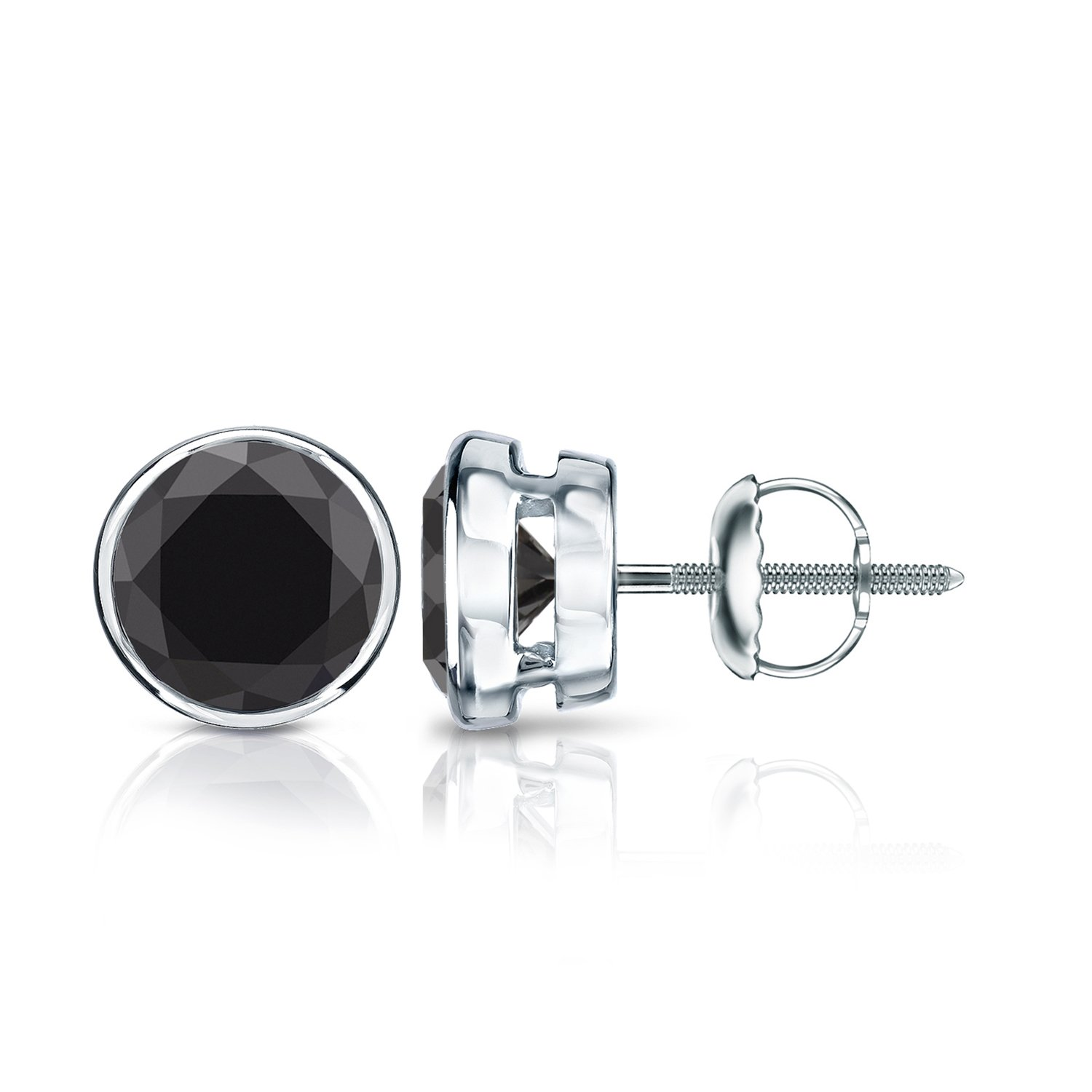 14k White Gold Round Black Diamond Men's Bezel Stud Earrings (3 ct, Black) Screw-Back by Diamond Wish