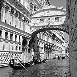 "Gondola In Venice Cost Canal Black And White Italy Europe Art Poster 22"" X 22"""