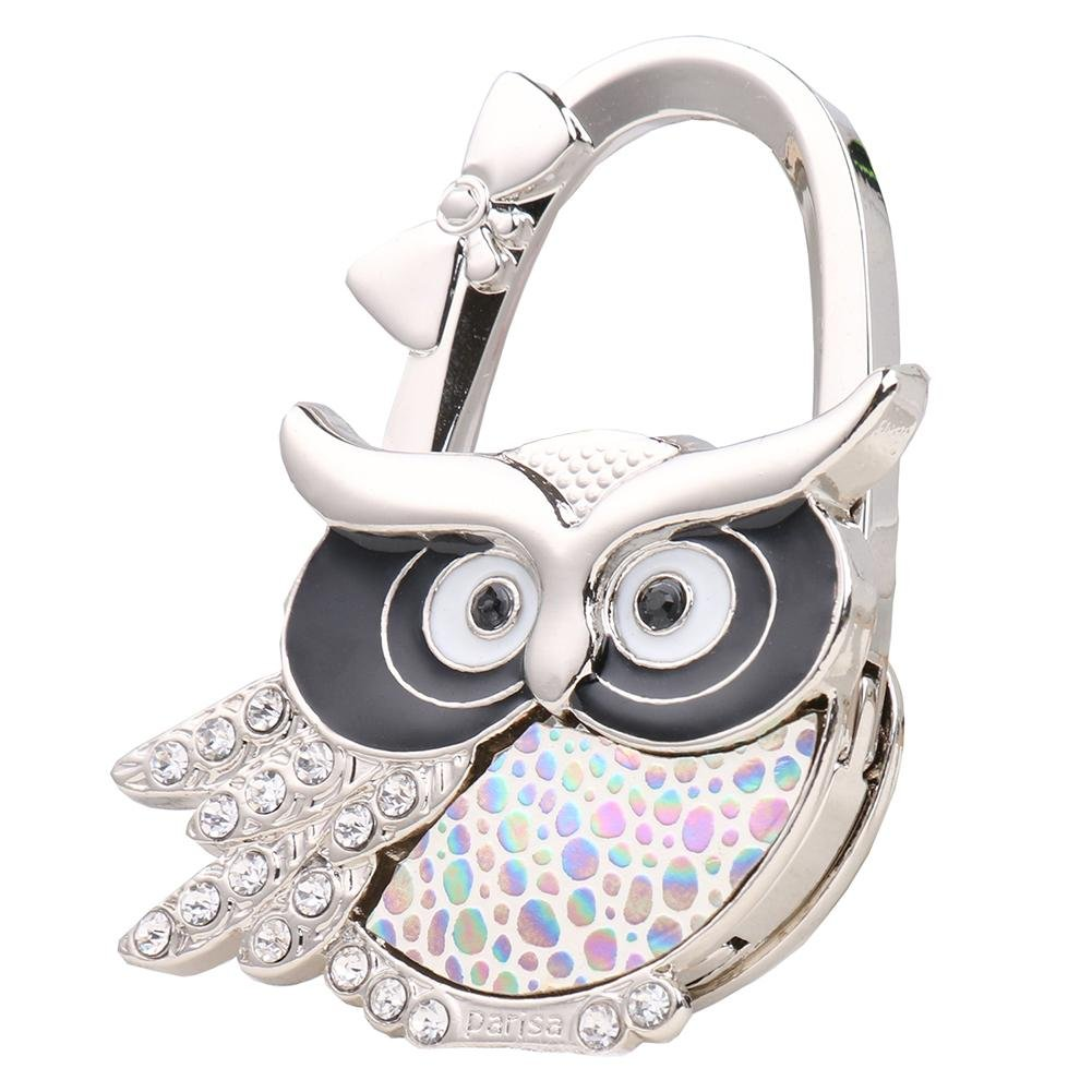 Rhinestone Owl Folding Bag Handbag Purse Table Hook Hanger Holder Iainstars