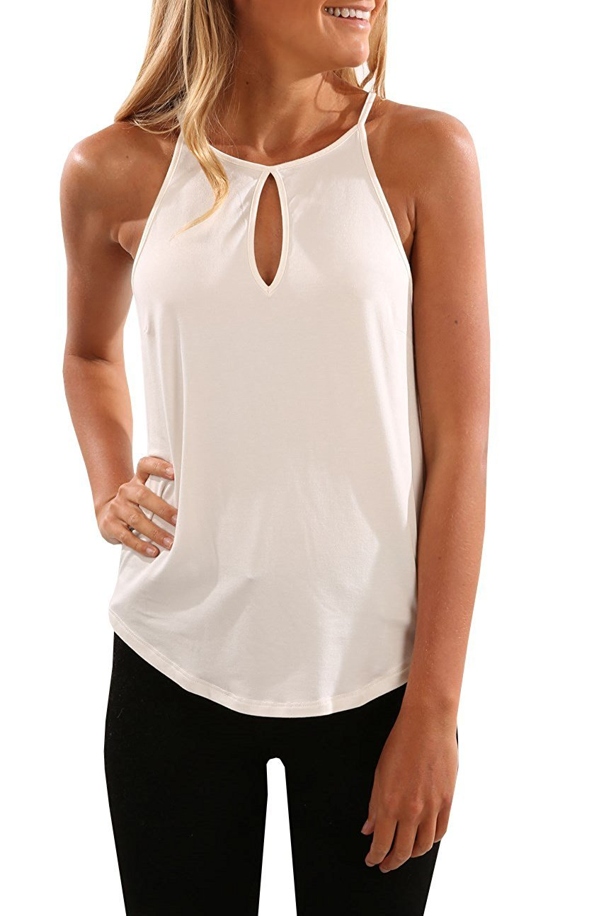 Imily Bela Womens Cami Cut Out Tanks Tops Spaghetti Strap Keyhole Front Sleeveless Shirt