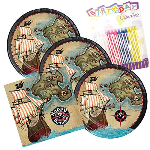 Pirate's Map Happy Birthday Theme Plates and Napkins Serves 16 With Birthday Candles -