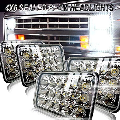 4X6 LED Headlights CREE Sealed Beam 4x6 Inch LED Headlights Dot Approved Bulbs Rectangular 4PCS 45W High/Low Beam Universal for H4651 H4652 H4656 H4666 H4668 H6545 H4642 Kenworth T800 T400 T600