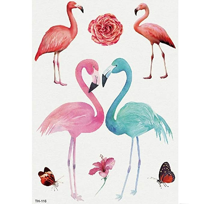 Just Fox – Tatuaje temporal, diseño de flamencos, flores ...