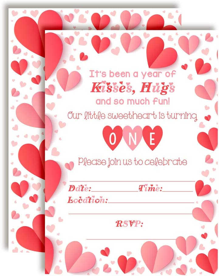 Amazon Com Our Little Sweetheart First Birthday Red And White Valentine Party Invitations 20 5 X7 Fill In Cards With Twenty White Envelopes By Amandacreation Toys Games