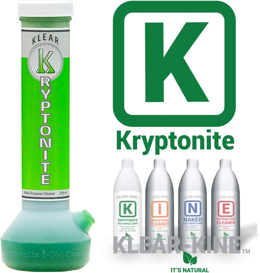 KLEAR KINE Kryptonite Glass Cleaner | Clay Based Formula | 420 & 710 Formulated | Glass Pipe | (270ml)