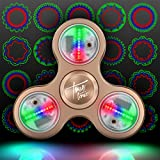 The Original Fidget Aluminate: The LED Light Up Fidget Aluminum Pattern Spinner w/ On/Off Switch + 20 Pattern Modes + Large Batteries for Maximum Brightness - Aluminum Case Included - Gold Bullion