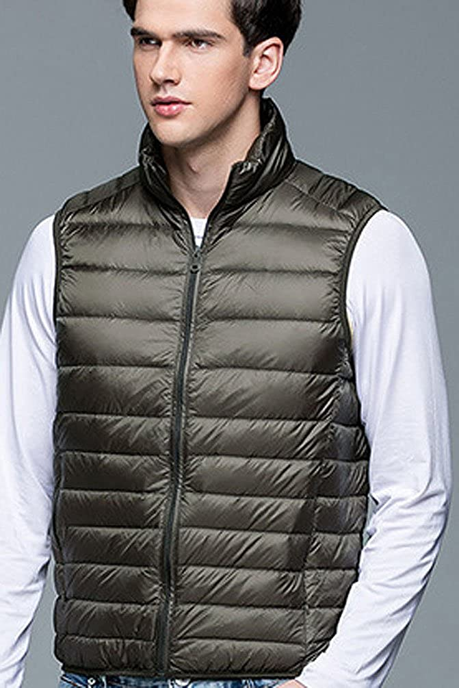 Fuxiang Mens Down Gilet Sleeveless Body Warmers for Men Puffer Jacket Coat Vest Packable Ultralight Lightweight Quilted Gilets with Zipper Pockets Stand Collar Jacketes Autumn Winter