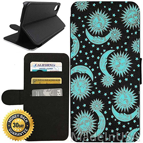 Vintage Purses Ebay - Flip Wallet Case for iPhone X/10 (Vintage Space Moon Stars Sun) with Adjustable Stand and 3 Card Holders | Shock Protection | Lightweight | Includes Free Stylus Pen by Innosub