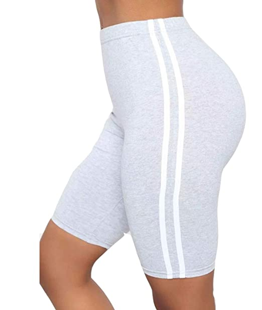 Ladies Womens Double Side Stripe Cotton Active Gym Cycling Shorts Hot Pants