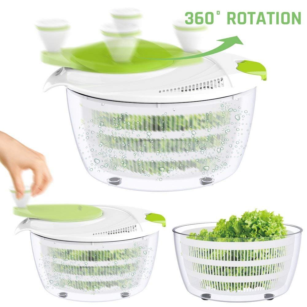 Salad Spinner Dryer,LOVKITCHEN Vegetables & Fruits Dryer with Large 4 Quarts & Quick Dry Design BPA,Ease for Tastier Salads and Faster Food Prep by Lovkitchen (Image #4)