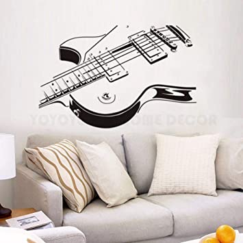 WSJIABIN Guitarra Pegatinas de Pared Música Arte Tatuajes de Pared Decoraciones para el hogar Diseño de Guitarra Extraíble Instrumento Musical Arte de la ...
