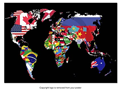 Poster World Flag Map Atlas Countries Flags Vector Art Black Background,  Paper, Size A1