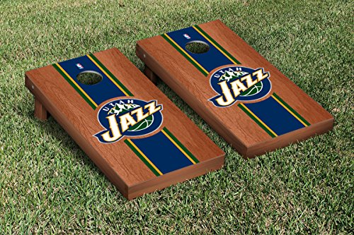 Utah Jazz NBA Basketball Cornhole Game Set Rosewood Stained Stripe Version by Victory Tailgate