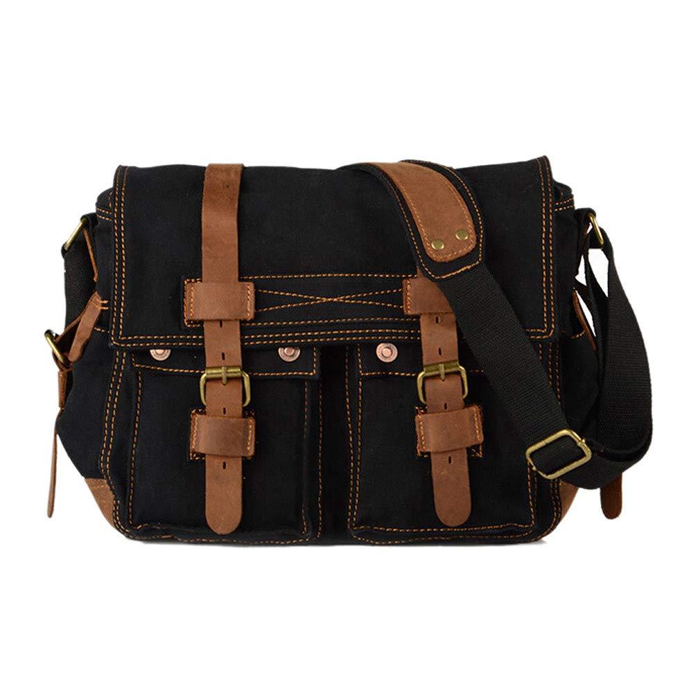 79167000c5 Amazon.com  Men s Vintage Canvas Leather School Military Shoulder Bag  Messenger Sling Crossbody Bag Satchel BLACK  Clothing