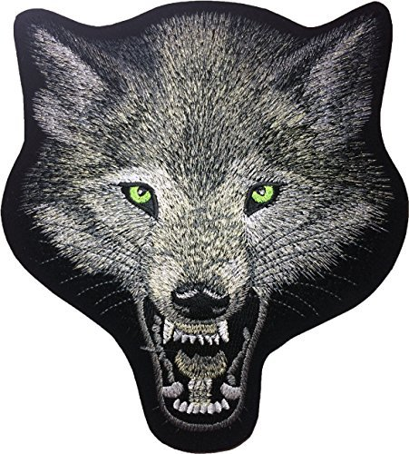 [Large Size] Papapatch Wolf Head Fox Roaring Biker Punk Ride Motorcycle Costume Jacket Vest DIY Embroidered Sew Iron on Patch (IRON-WOLF-HEAD-LARGE) ()
