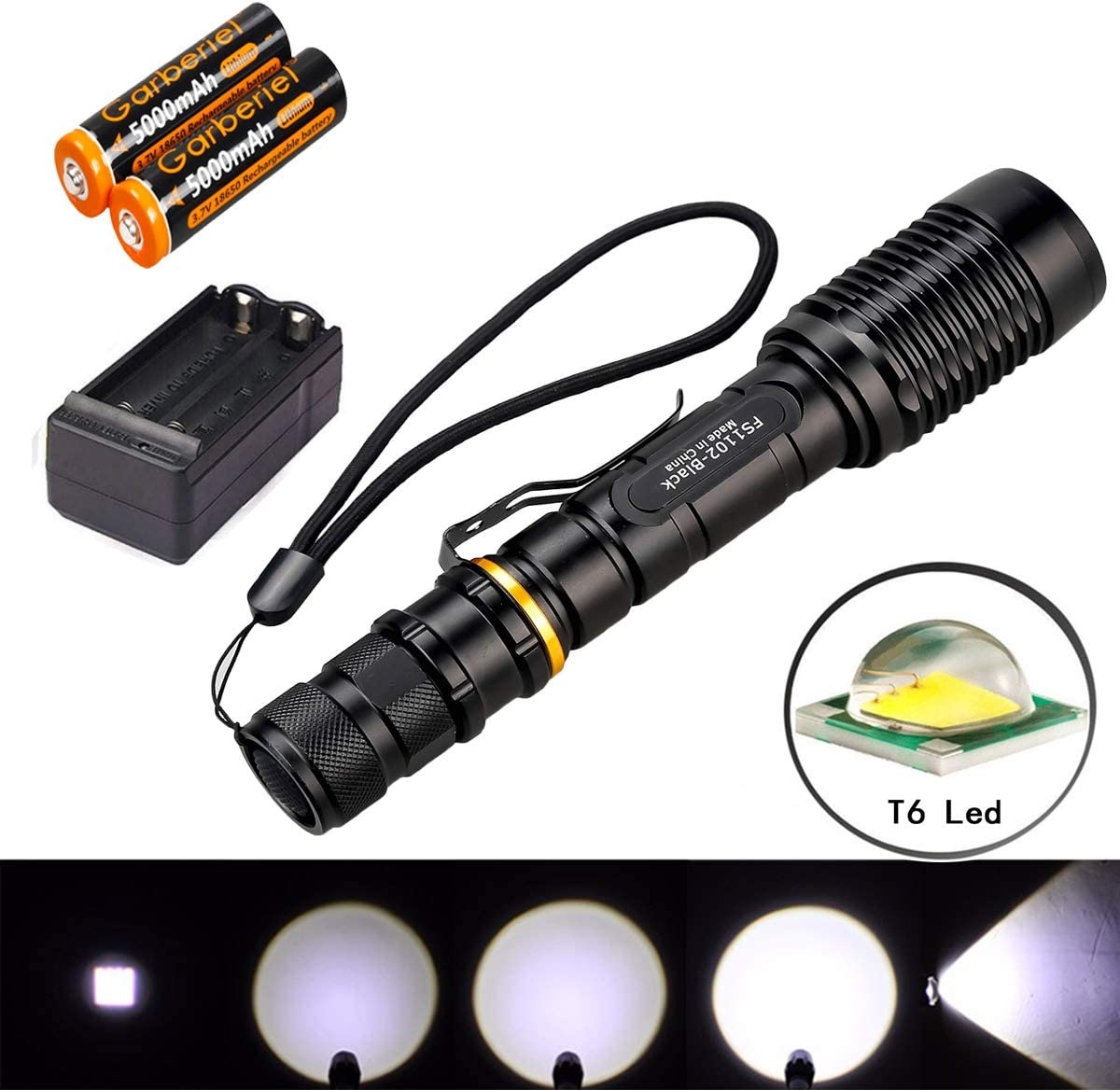 SKYWOLFEYE Zoomable 8000 Lm T6 LED Torch Police 5 Modes Focus Light Lamp FT