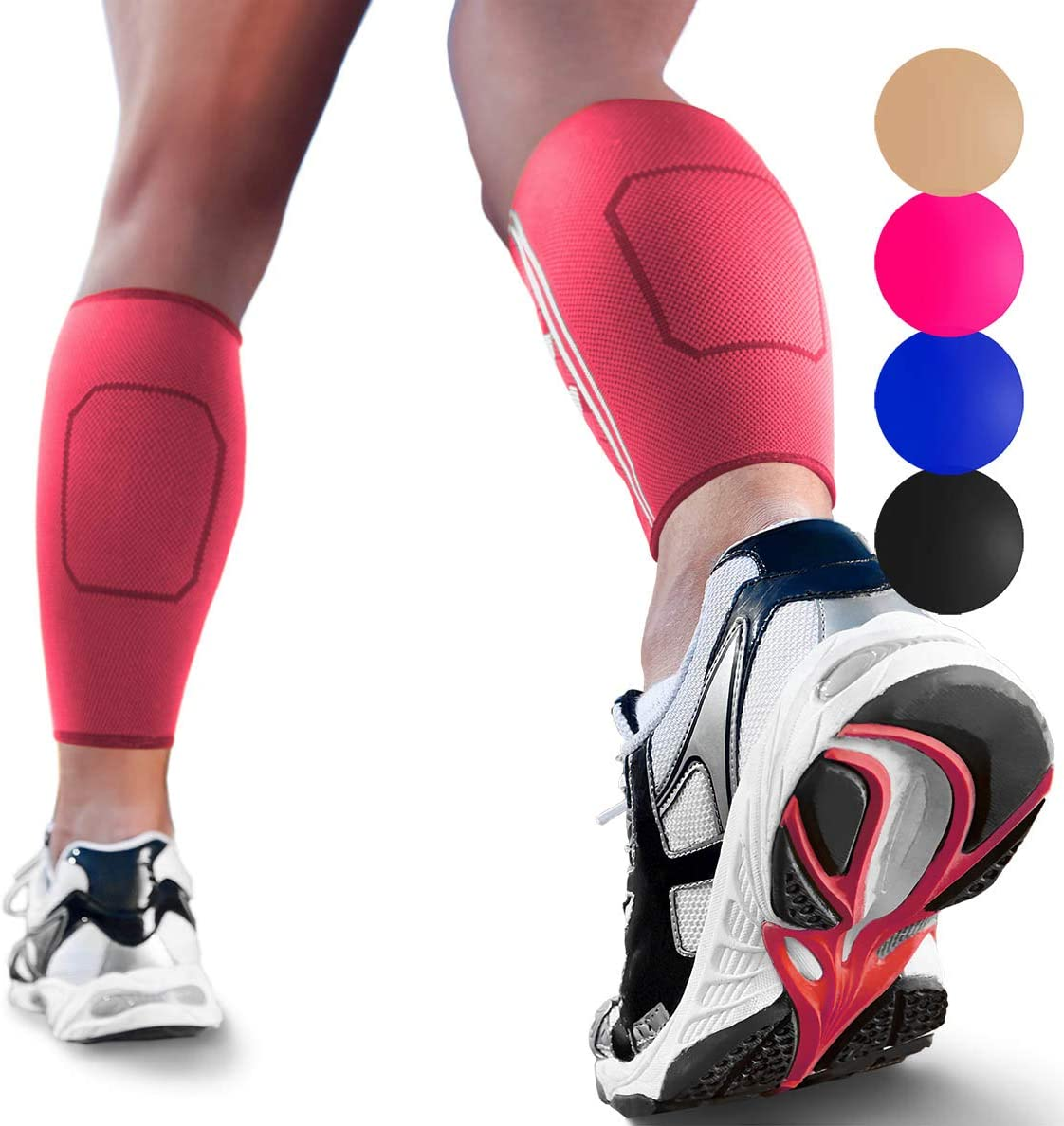 Calf Compression Sleeves by SPARTHOS Leg Compression Socks for Men and Women Black-L Pair Shin Splint Calf Pain Relief Calf Medical Leg Pain and Cramps Recovery Varicose Veins
