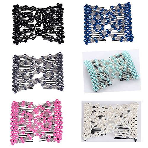 Casualfashion 6Pcs Multifunction Easy Comb Magic Comb Stretchy Beaded Hair Comb Elastic Double Combs in Mix Colors Hair Holder by Casualfashion Hair Accessories
