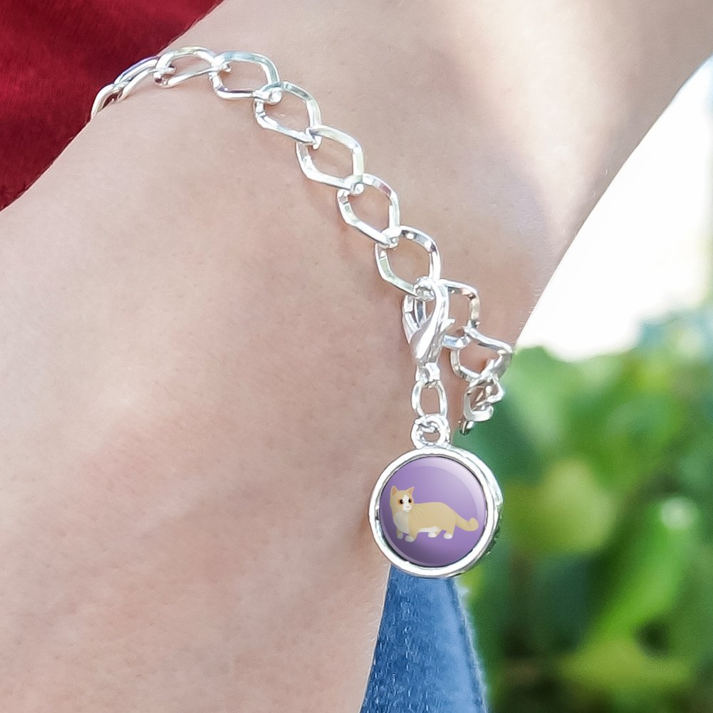 GRAPHICS /& MORE Munchkin Cat Silver Plated Bracelet with Antiqued Charm