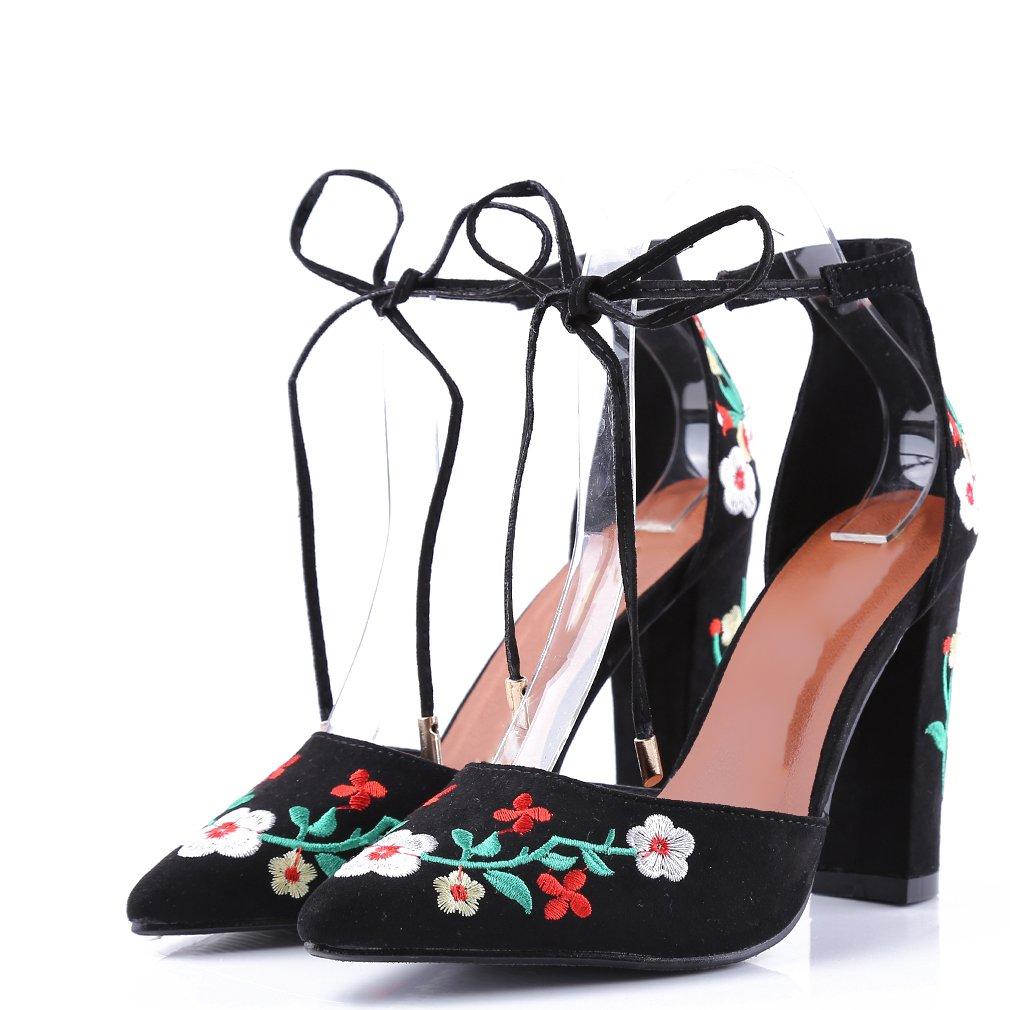 LnLyin Chaussures de Mode, Chaussures Uniques pour Femmes avec Broderie Wildflower Vintage, Chaussures à Bout Pointu brutes, Noir, 41 (25,5 cm)