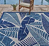 Gertmenian 21624 Indoor Outdoor Rugs Patio Area Carpet, 8x10 Large, Blue Abstract Leaf