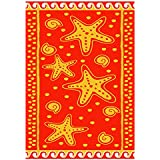 Linens Limited Starfish 100% Egyptian Cotton Velour Beach Towel, Orange/Yellow