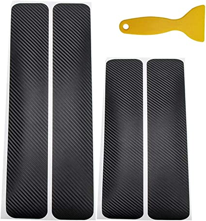 Trader-V Universal 4Pcs Carbon Fiber Sill Scuff Car Door Guard Bumper Protection Trim Cover Scuff Plate Sticker with Strong Adhesive Cover Existing Anti Scratch