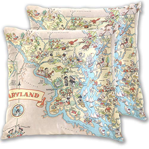 (Vintage 1935 Maryland State Map Cotton Throw Pillow Cover Set of 2,16 X 16 Inch Pillow case)