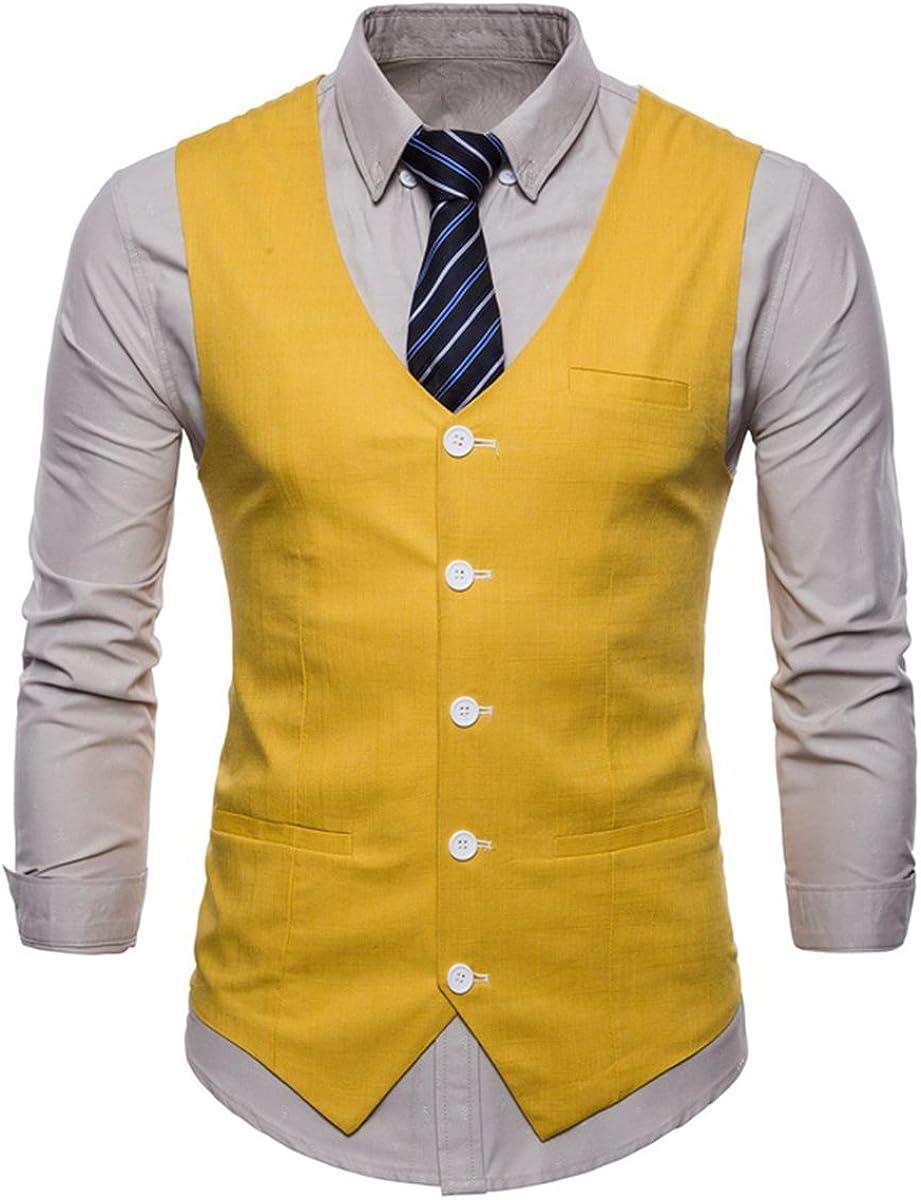 Invachi Slim Fit - Chaleco de traje para hombre, elegante, de algodón y lino, con cuello en V