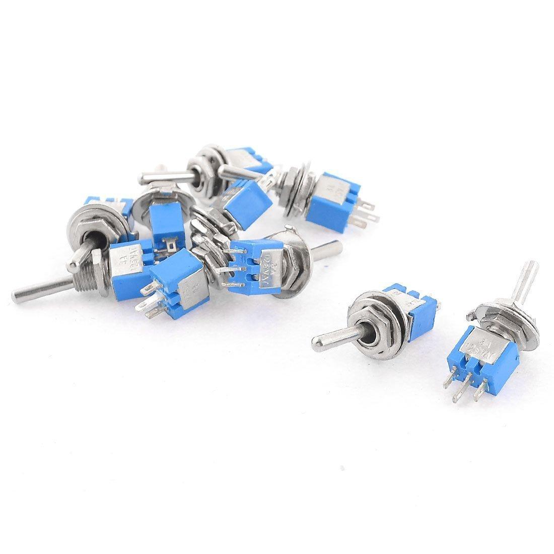 Podoy 10PCS SPDT On/On 2 Position Miniature Toggle Switch AC 125V/3A