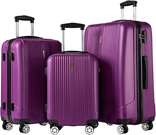 Luggage Set 3 Piece Set Suitcase set with TSA Lock Spinner Hard shell Lightweight Purple